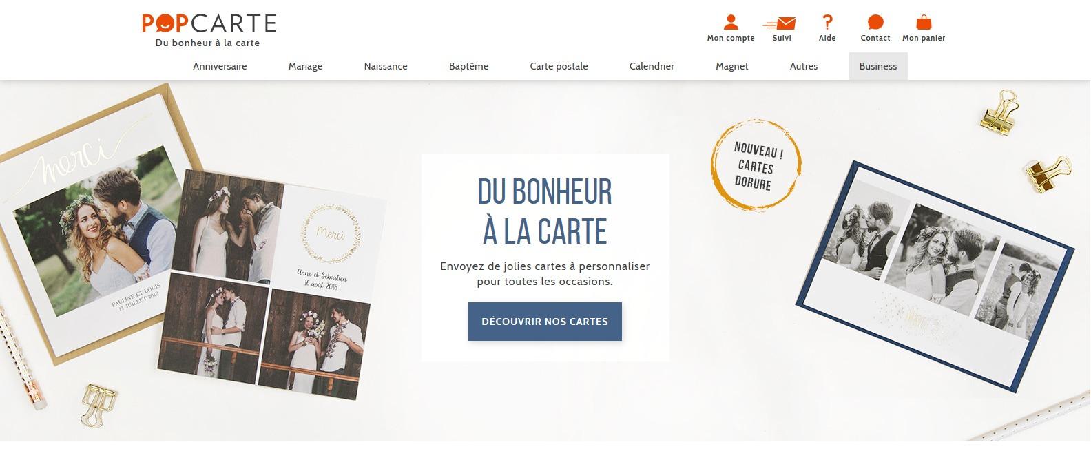 Présentation du site Popcartes